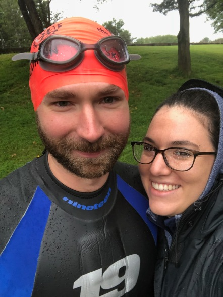 George and his wife at the triathlon