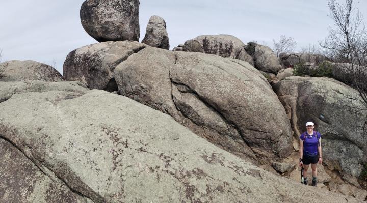 Rachel among boulders
